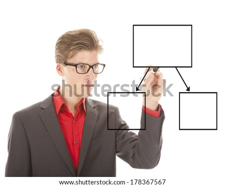 Young student writing an chart isolated on white background - stock photo