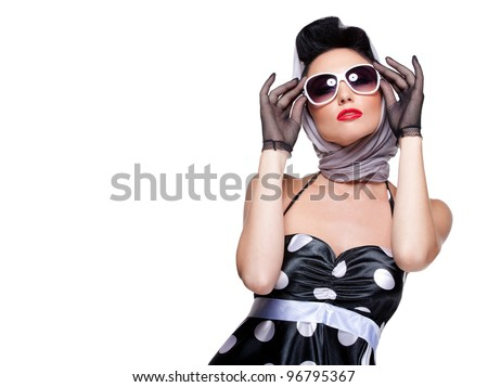 young stylish caucasian woman posing, isolated over white, retro styling, space for copy - stock photo