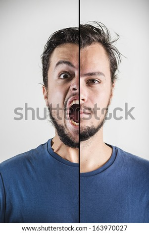 young stylish man double face expression on white background - stock photo
