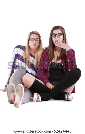 Young stylish teenagers chatting - isolated over white background. - stock photo