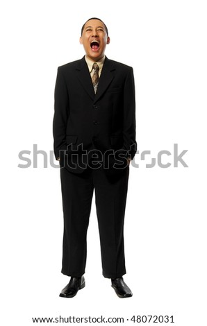 Young Success Fullbody business man screaming isolated on white background - stock photo