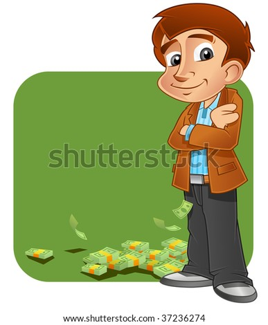 Young successful business person with pile of money - stock photo