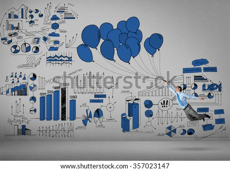 Young successful businessman flying on bunch of drawn balloons and infographs on background - stock photo