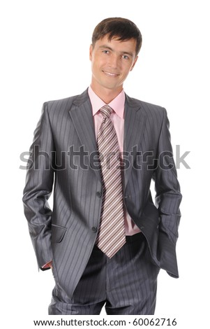 Young successful businessman. Isolated on white background - stock photo