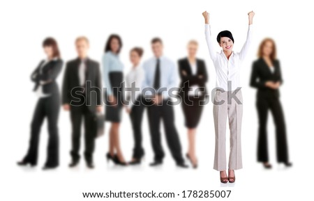 Young successful businesspeople, isolated on white  - stock photo