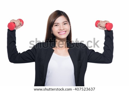 Young successful businesswoman with dumbbells isolated on white background.  - stock photo