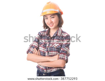 Young successful cheerful woman engineer wearing protection helmet with arms folded, isolated on white background - stock photo