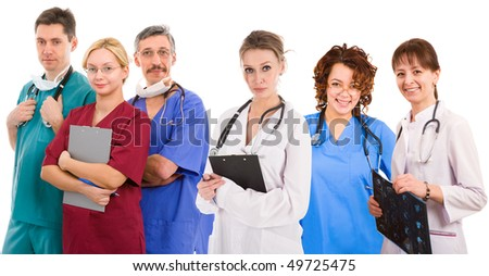 Young successful medical team. Six female an male doctors - stock photo