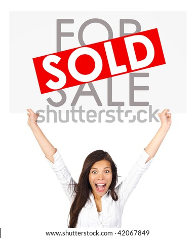 Young successful mixed race asian / caucasian real estate agent or owner holding a for sale sign for a sold house. Isolated on white background. - stock photo