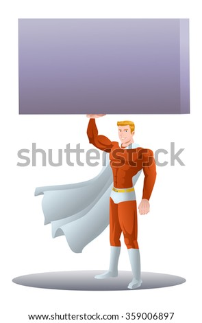 young super hero business man lifting heavy box on isolated white background - stock photo