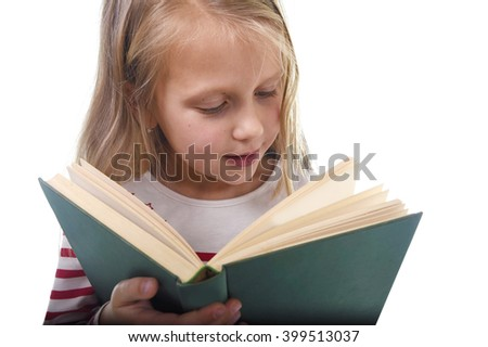 young sweet little 6 or 7 years old with blond hair girl reading a book looking curious and fascinated in child education and school concept isolated on white background - stock photo