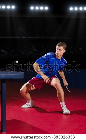 Young table tennis player at sports hall - stock photo