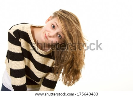 Young teen girl leaning sideways - stock photo