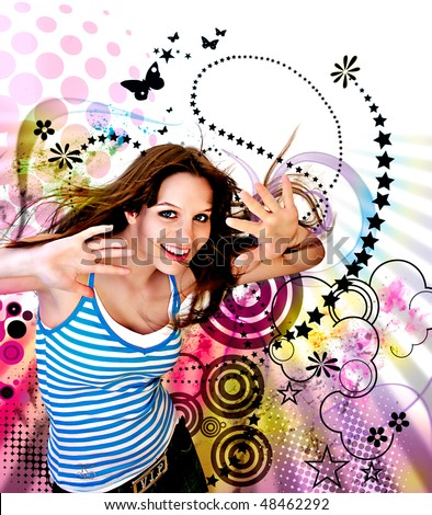 young teenage-girl dancing in front of a vector-design-background - stock photo