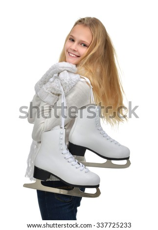 Young teenage girl holding ice skates for winter ice skating sport activity smiling isolated on a white background - stock photo