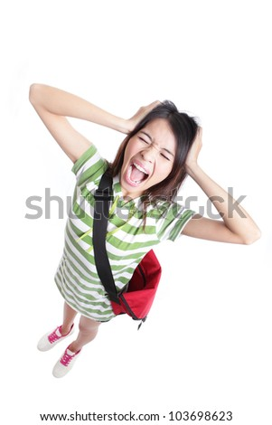Young Teenage girl student is screaming out loud and pulling her hair in full length isolated on white background, from high angle view, model is a asian woman - stock photo