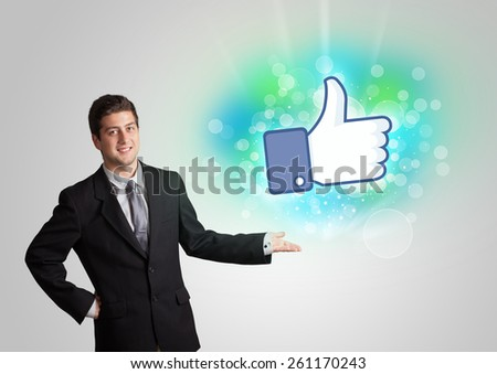 Young teenager with like social media illustration concept - stock photo