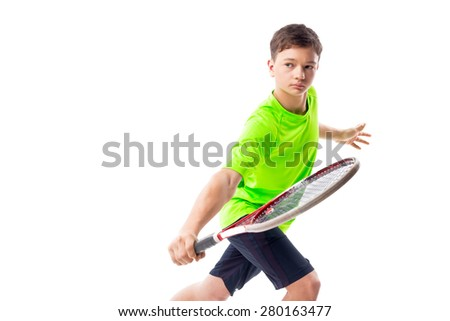 Young tennis player isolated - stock photo