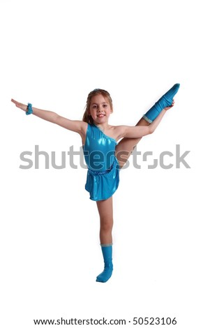 young the girl-gymnast on white background - stock photo