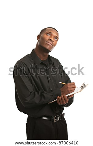 Young Thoughtful Black Man Holding Clipboard Writing, Smiling Isolated on White Background - stock photo