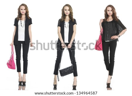 young three young woman with bag posing in studio - stock photo