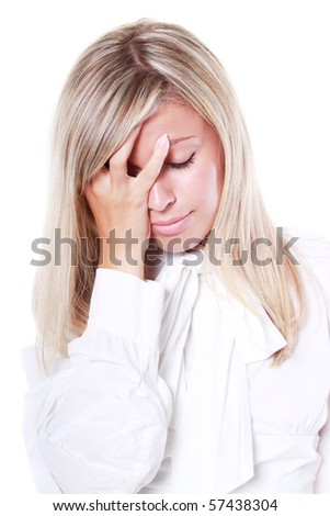 Young tired business woman suffering from headache isolated on white - stock photo