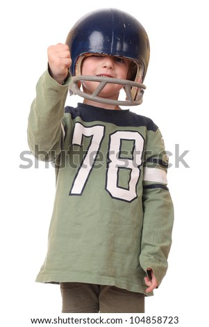 Young toddler with football helmet on white background - stock photo