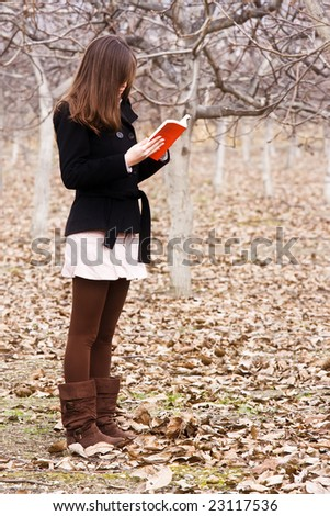 Young unrecognizable woman reading a book in the forest. - stock photo