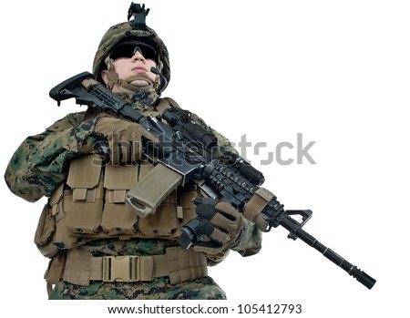 Young US soldier with his rifle on white background - stock photo