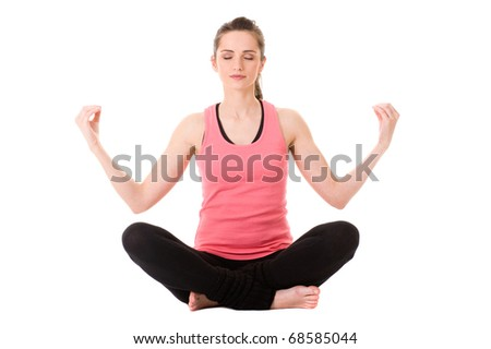 young very attractive female in yoga, relaxation pose, studio shoot isolated on white - stock photo