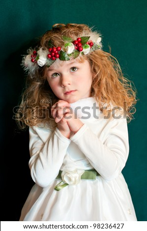 Young Victorian Girl in Prayer - stock photo