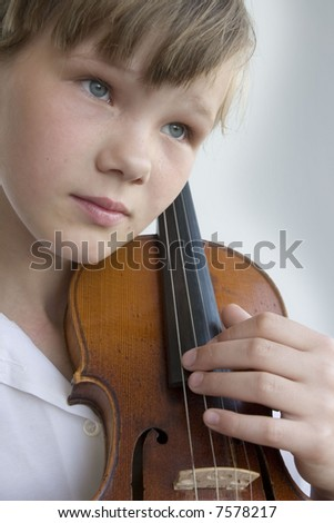 young violinist - stock photo