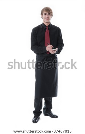 Young waiter taking an order - stock photo