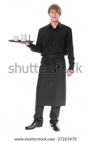 Young waiter with soft drinks - stock photo
