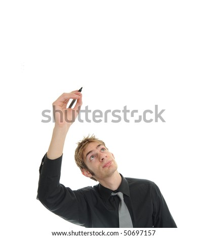 Young white Caucasian writes in blank empty copyspace above his head - stock photo