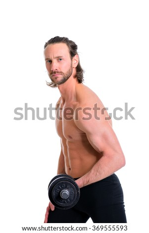 young white man exercised body train with bar-bell - stock photo