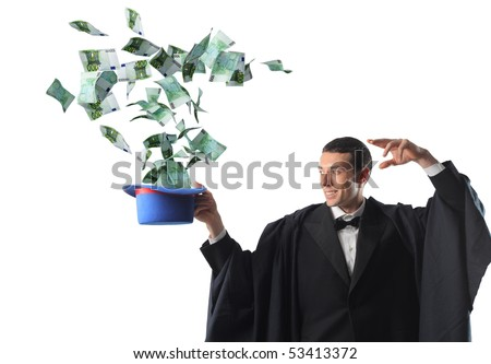 young wizar make euro money from his hat - stock photo
