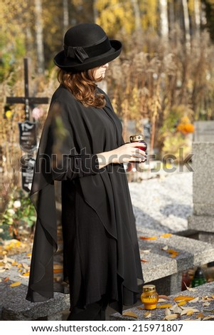 Young woman after husband's loss - stock photo