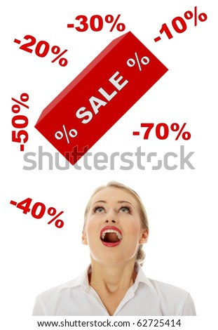 Young woman amazed because of sale, isolated on white - stock photo
