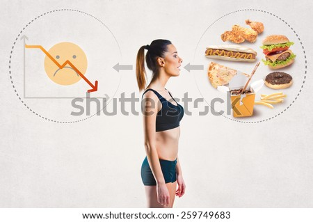Young woman and an unhealthy diet concept - stock photo