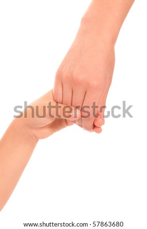 Young woman and children girl handshake isolated on white background - stock photo