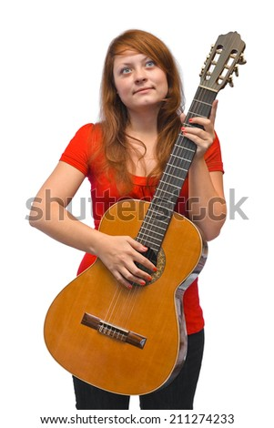 Young woman and guitar isolated on white background - stock photo