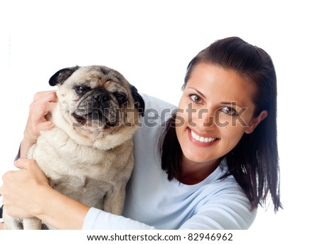 Young woman and her pet - stock photo