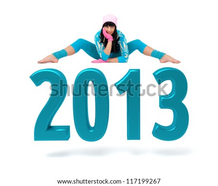 Young woman and 2013 New Year sign against isolated white background - stock photo