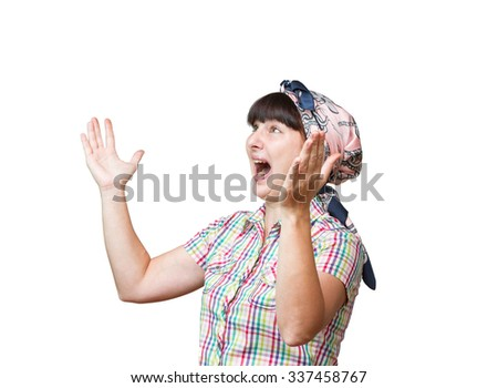 Young woman angry screaming on a white background. - stock photo