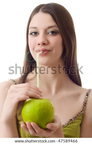 Young woman apple drink fruit cocktail puff - stock photo