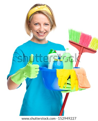 Young woman as a cleaning maid holding bucket full of liquids and showing thumb up gesture, isolated over white - stock photo