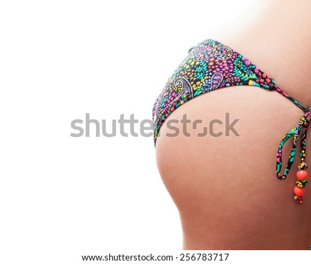 young woman ass on a white background closeup - stock photo