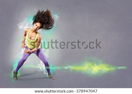 young woman at fitness exercise or dancing - stock photo