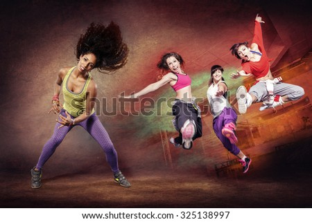 young woman at fitness exercise or sport dancing - stock photo